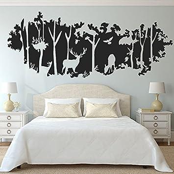 Grosser Wald Silhouetten Der Wohnzimmer Schlafzimmer Terrasse Wand