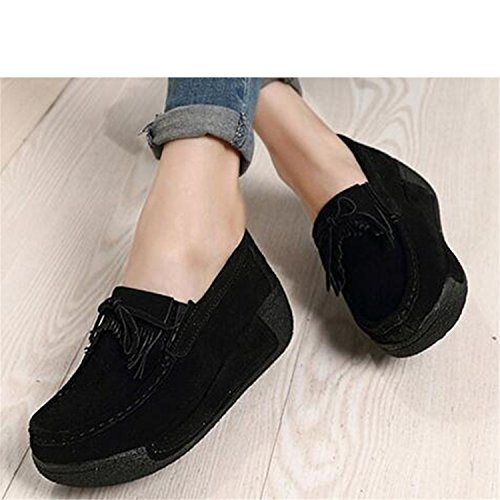 Platform Shoes Navy Wedges Slip Leather Shoes Hand Casual Shoes Women Flats Sewn NEW Blue2 Spring Suede Ladiamonddiva On fanBxX7q