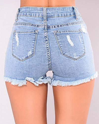 Pantalones Fit Alta Claro Slim Jeans Mini Ocio Rasgados Azul Vaqueros Cintura Mujeres Verano Cortos Pantalones Botón RwYx4TqE