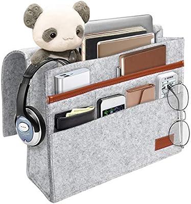 Kernorv Bedside Caddy, Felt Bedside Storage Organizer Home Mattress Sofa Table Cabinet Bed Caddy Storage Organizer with Pockets for Tablet Pad Phone ...