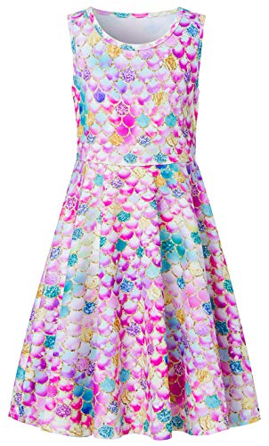 (Summer Mermaid Dresses for Little Kids GILR 4 5 Years Old 3D Floral Printed Rose Red Pink Yellow Blue Diamond Twirly Sleeveless Midi Long Fancy Cami Dress in Dance Party Holiday Casual Sundress)