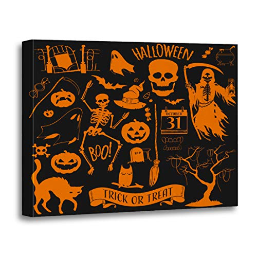 Tinmun Painting Canvas Artwork Wooden Frame Pumpkin Halloween Everything for Decorating Your Flyers and Scary 16x20 inches Decorative Home Wall Art -
