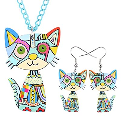 Top Kitty Earrings and Necklace Set - Blue - Mall of Style supplier