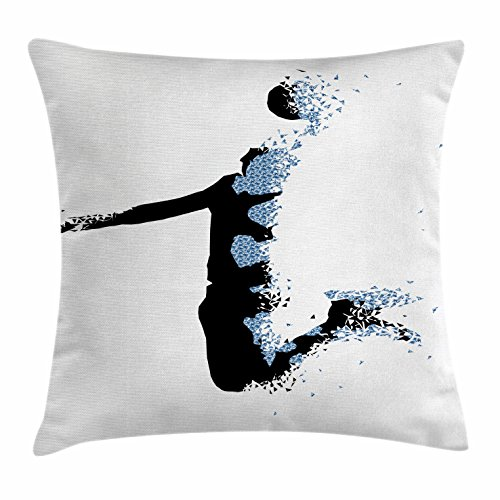 "Ambesonne Teen Room Throw Pillow Cushion Cover, Modern and Basketball Player in Fractal Pattern Design, Decorative Square Accent Pillow Case, 16"" X 16"", Blue Black"