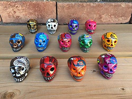 Artesano Mundo Assortment of Miniature Ceramic Sugar skulls, Four Count