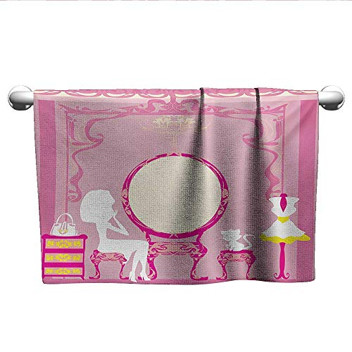 (xixiBO Hand Towel W14 x L14 Girls,Lady Sitting in Front of French Cosmetic Make-Up Mirror Furniture Dressy Design,Pink Yellow Pattern Towel)