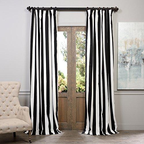 51urwB Y9EL - Half Price Drapes PRTW-D17-96 Printed Cotton Curtain, Cabana Black