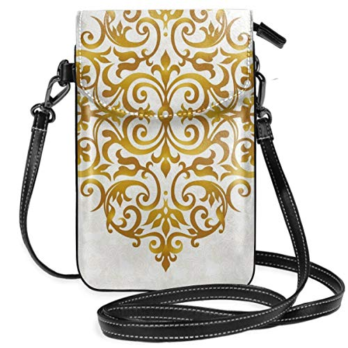 (Women Small Cell Phone Purse Crossbody,Victorian Style Traditional Filigree Inspired Royal Oriental Classic Print)