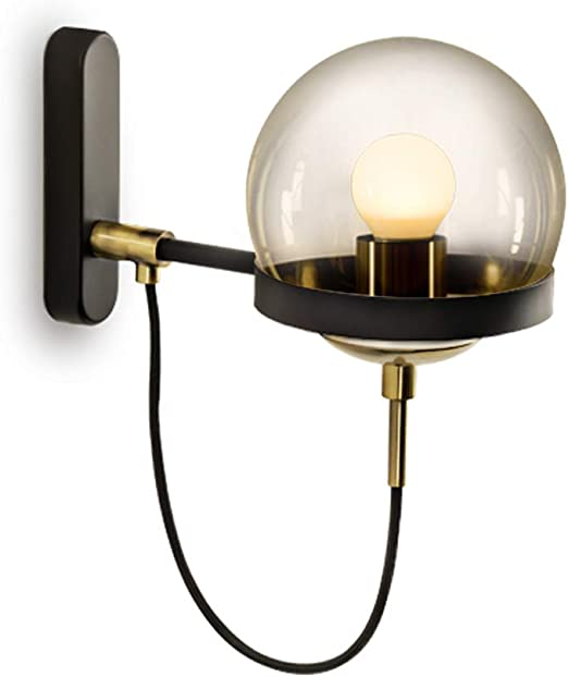 Pinjeer Retro Industrial Glass E27 Aplique American Iron Living Room Dormitorio Pasillo Pasillo Escalera Luz Espejo Faros Luces de Pared Decoración del hogar Aplique de Pared (Color : B): Amazon.es: Hogar