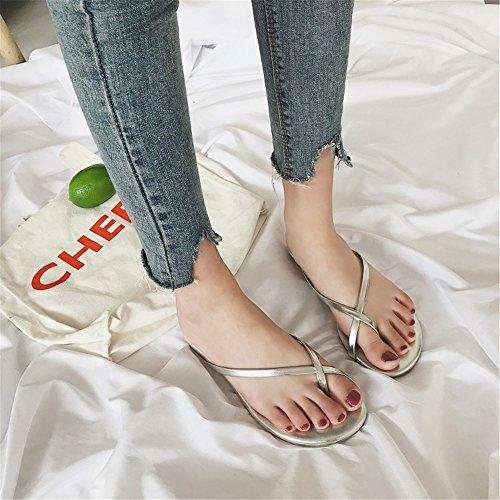 Sandalias para Color Sandalias EU de Abierta beauty love Zapatillas de Plana Playa de Antideslizantes Plataforma Punta 39 Angel 1 Silver 3 Size Verano Mujeres Silver de Uqz06