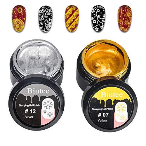 (Biutee Nail stamping gel stamping polish 2PCS Gold Silver UV LED Gel Polish for nail stamping plate (Gold&Silver Nail Gel))