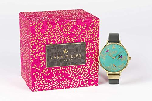 Sara Miller Chelsea kollektion guldpläterad grå läderrem klocka SA2000