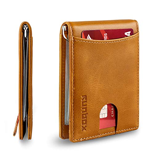 Minimalist & Slim Bifold Front Pocket Wallet with Money Clip for men, Premium Genuine Full-Grain Leather & RFID Blocking