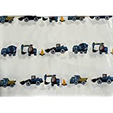 Red Truck 3 Piece Twin Sheet Set Construction Vehicles Trucks on White