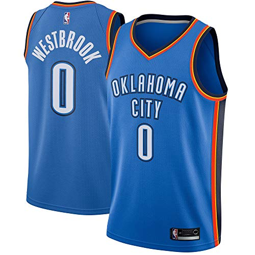 Majestic Athletic Men's Oklahoma City Thunder #0 Russell Westbrook Swingman Jersey-Blue (XL)