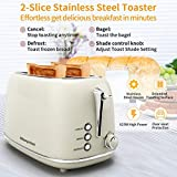 2 Slice Toaster, Compact Bread Toasters with 6