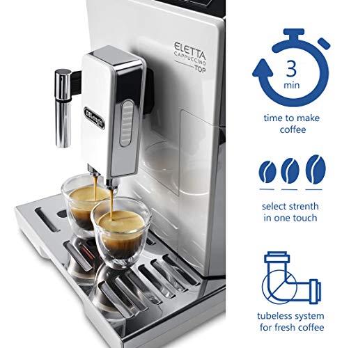 Delonghi super-automatic espresso coffee machine - with an adjustable silent ceramic grinder, double boiler, milk frother for brewing espresso, cappuccino, latte & macchiato, Eletta ECAM 45760 by DeLonghi (Image #2)