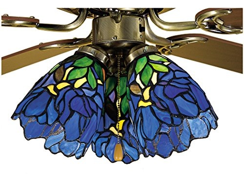 Meyda Tiffany Iris Fan Light Shade Ceiling Light Fixture, 5