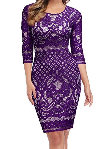 WOOSUNZE Women's Long Sleeve Crochet Lace Fit and Flare Cocktail Party Dress (Purple, Medium)