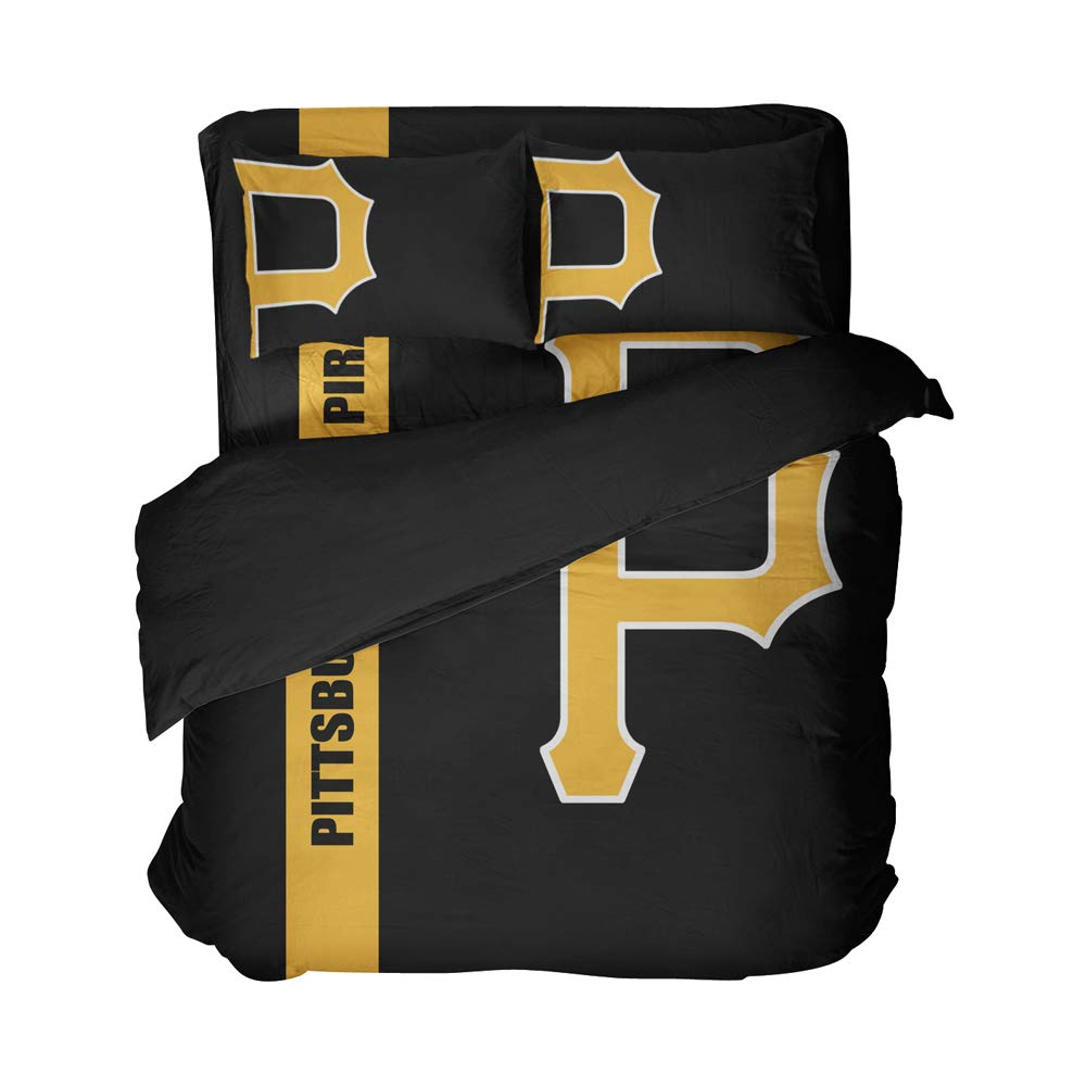 Magaport Pittsburgh Bed Set Baseball Quilt Cover Sets,3D Team Bedsheet Bedding Twin 4pcs,Baseball Duvet Covers for Boys