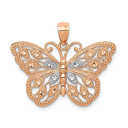 14k Rose Gold Butterfly Pendant Charm Necklace Animal Fine Jewelry Gifts For Women For Her