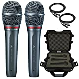 2x Audio-Technica AE6100 Dynamic Hypercardioid Vocal Microphone with Waterproof Case and Cables