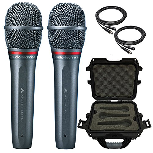 2x Audio-Technica AE6100 Dynamic Hypercardioid Vocal Microphone with Waterproof Case and Cables by Audio-Technica, Gator Cases