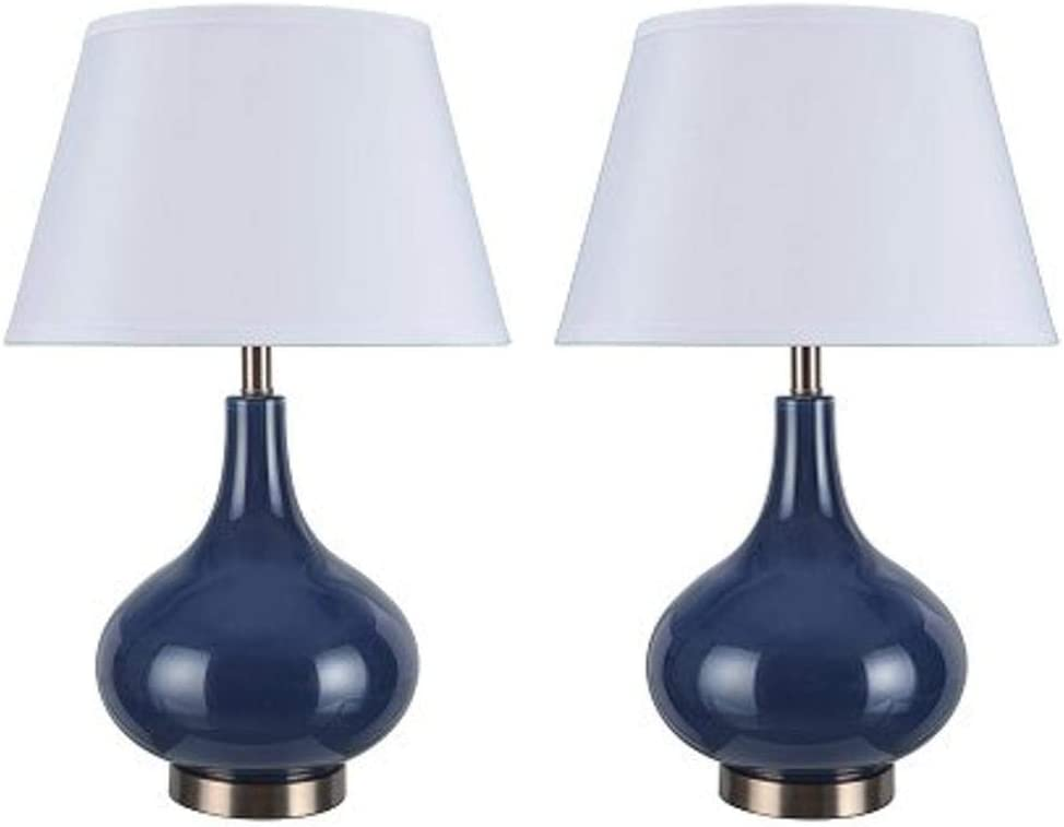 "Aspen Creative 40031, Two Pack Set 23"" High Modern Glass Table Lamp, Navy Blue with Antique Red Copper Base and Hardback Empire Shaped Lamp Shade in White, 14 1/2"" Wide Dark Blue"