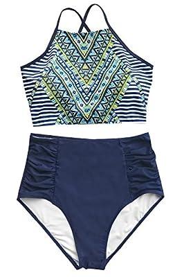 Cupshe Fashion Women?s Printing Criss Cross Tie Back High Waisted Bikini Set Beach Swimwear Bathing Suit