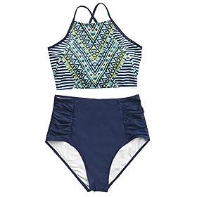 Fashion Women's Printing Criss Cross Tie Back High Waisted Bikini Set Beach Swimwear Bathing Suit 51urxmQyOIL