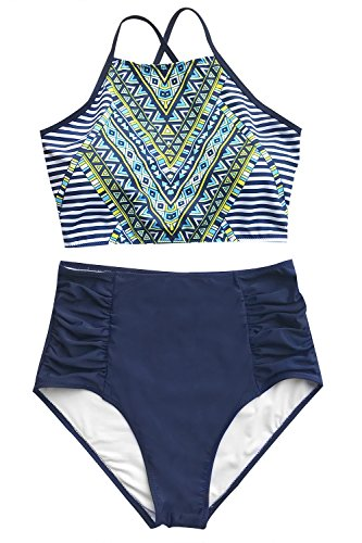 ed5066b2c68ac CUPSHE Women's Riddle Story Print Bikini Set Tie Back High Waisted Swimwear  Large