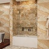 SUNNY SHOWER BP05P2 56-60 in. Width, Fully Frameless Sliding Bathtub Shower Doors, 3/8'' Glass, Polished Chrome Stainless Steel