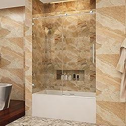 SUNNY SHOWER BP05P2 56-60 in. Width, Fully Frameless Sliding Bathtub Shower Doors, 3/8
