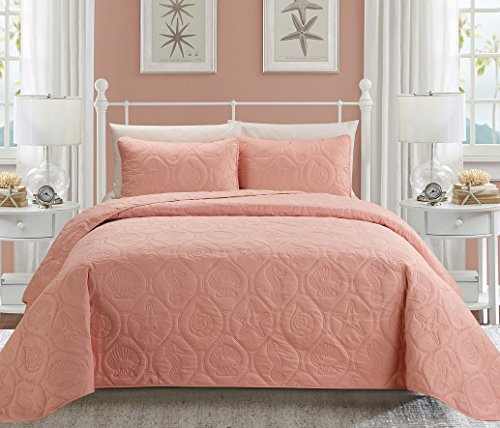 3-Piece Marine KING Bedspread Rose Pink Coverlet Embossed Bed Cover set. Sea Shells, Sea Horse, Starfish (Starfish Pink)