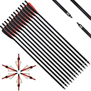 IRQ 20 Inch Crossbow Bolts and Crossbow Broadheads Set, Carbon Crossbow Arrows for Hunting and Outdoor Practic