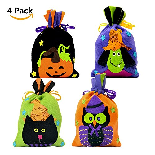 4pack Halloween Drawstring Bag for Kids,Trick or Treat Halloween Goody Bag - Pumpkin Witch Owl Bunny Candy Tote (Owl Halloween Treat Bags)