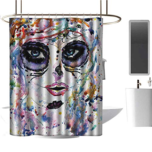 Qenuan Extra Long Shower Curtain Sugar Skull,Halloween Girl with Sugar Skull Makeup Watercolor Painting Style Creepy Look,Multicolor,Metal Rust Proof Grommets Bathroom Curtain 54