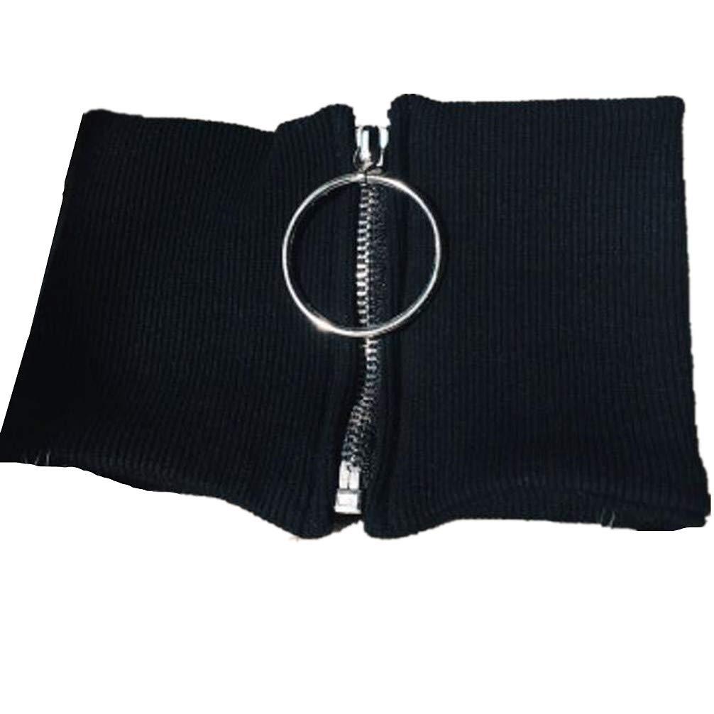 DEMON BABY 2018 New Cool Black Cotton Fake Collar with Circular Zipper Choker False Faux Doll Collar Best Gift