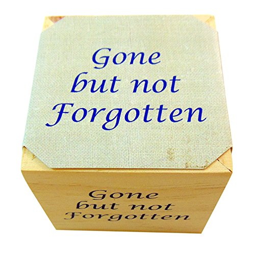 Gone But Not Forgotten Memorial Flower Pot Plant Wooden Cube with Forget Me Not ()