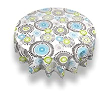 """Carnation Home Fashions Contemporary Whimsy Round Vinyl Flannel Backed Tablecloth, 70"""", Taupe"""