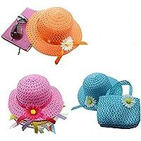 3 Girls Tea Party Sun Hat and Purse Sets. Includes 3 Purses & 3Daisy Flower Sunhats(Random Color)