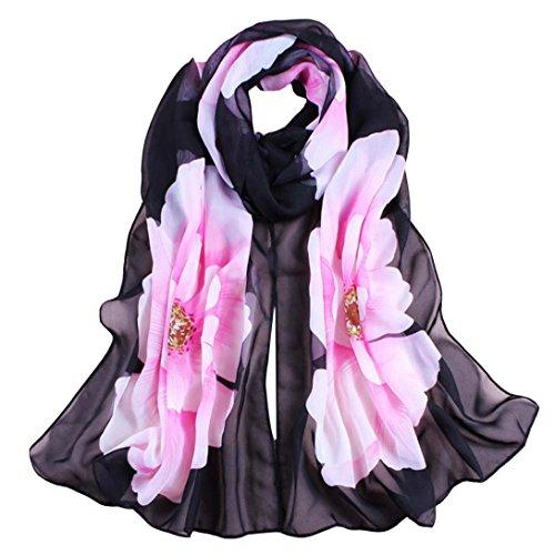 Wensltd Clearance Women Soft Thin Chiffon Silk Scarf Flower printed Scarves Wrap Shawl (Black) (Soft Scarf Floral)