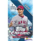 2018 Topps Chrome Baseball Factory Sealed HUGE 24 Pack HOBBY Box with (2) CHROME AUTOGRAPHS! Look for Rookies, Refractors & Auto's of Shohei Ohtani, Ronald Acuna, Gleyber Torres & Many More! WOWZZER!