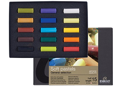 Rembrandt Soft Pastel Starter Box Set, 15-Piece Half Sticks, General Selection