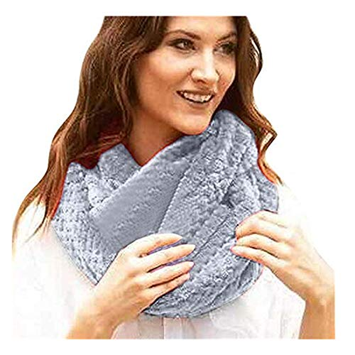 Price comparison product image Promisen Winter Warm Shawl Scarf, Knitting Yarn Infinity Wrap Scarf with Hidden Zippered Pocket, Secret Pocket for Casual, Travel, Ladeis, Girls (Gray)