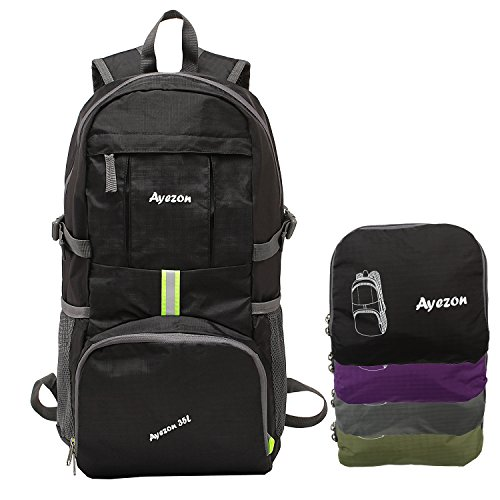 Ayezon Durable Ultra-Light Black Packable Backpack Daypack for Hiking, Air Traveling, Outdoor 35L Review