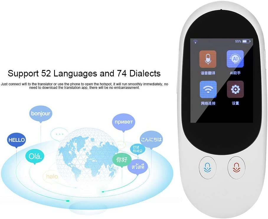 Portable pour Voyages Communication Cadeau Prise en Charge de 52 Langues et de 74. IPS LCD 4 Pouces Traducteur Electronique Instantan/é Tosuny Traducteur Vocal