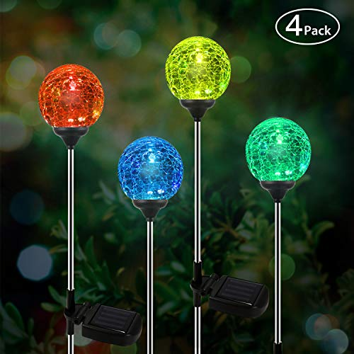 OxyLED Solar Garden Lights Outdoor, 4 Pack Solar Globe Light Stakes, Color-Changing LED Path Light Landscape Lighting, Auto On/Off Dusk to Dawn for Pathway Lawn Patio Halloween Christmas (Decorative Lights Garden)
