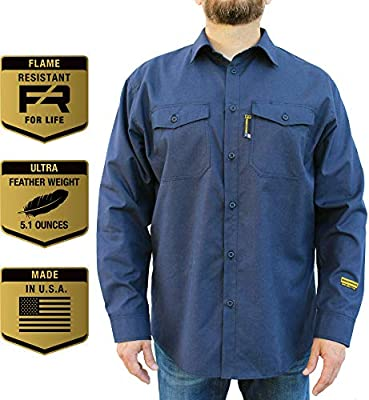 Benchmark FR Silver Bullet, 5 1 oz Ultra Lightweight FR Shirt, NPFA 2112 &  CAT 2, Moisture Wicking, Men's FRC with 9 Cal rating, Made in USA, Advanced