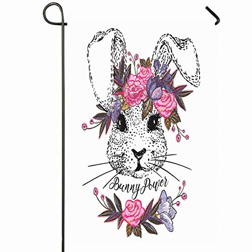 (Ahawoso Outdoor Garden Flag 12x18 Inches Leaf Watercolor Cute Bunny Floral Vintage Princess Wreath Abstract Retro Asian Autumn Design Greeting Seasonal Home Decorative House Yard Sign)
